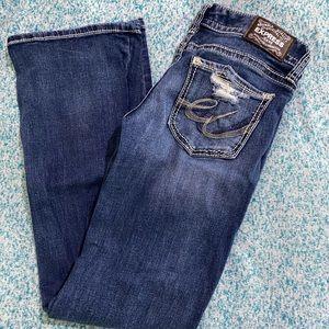 Express Distressed Bootcut Jean Denim Blue Size 4